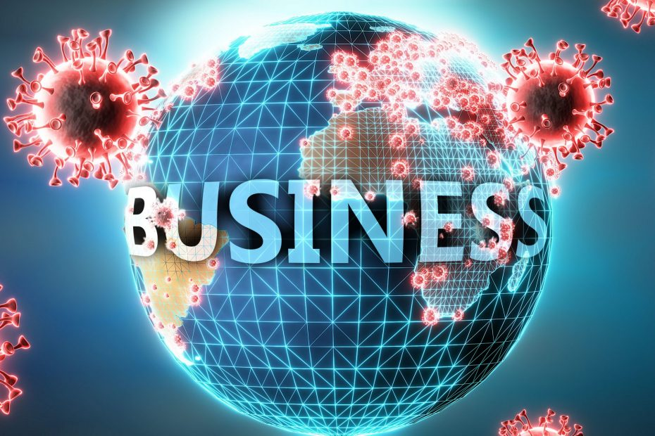 Business and covid virus, symbolized by viruses and word Business to symbolize that corona virus have gobal negative impact on  Business or can cause it, 3d illustration